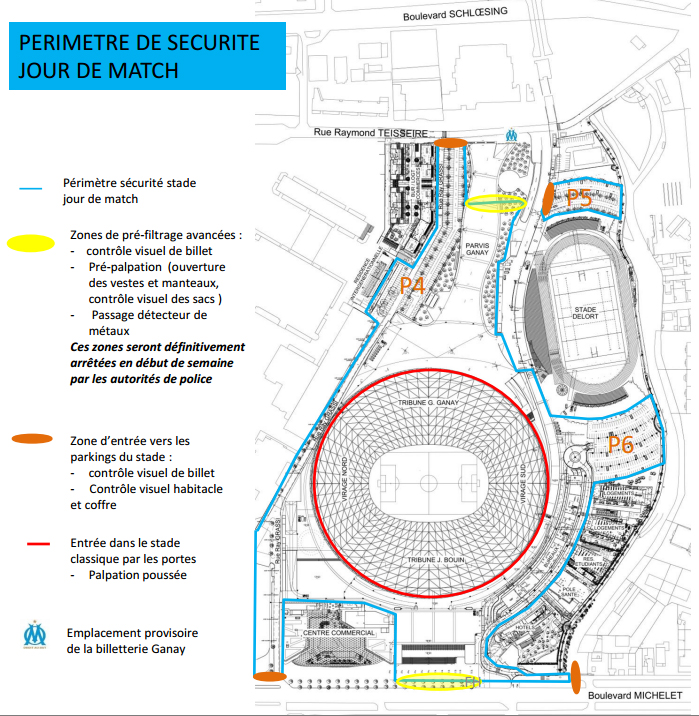 Supporters attention les r gles de s curit changent au for Porte 7 stade velodrome