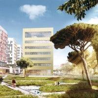 Les bâtiments de bureaux vus depuis le jardin d'Arenc