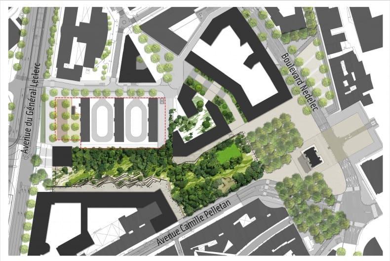 Le plan du futur parc avec en haut les barres Turenne et à droite la porte d'Aix