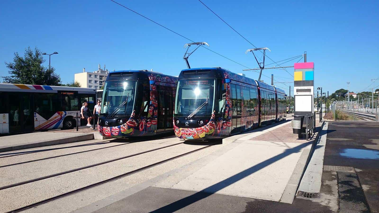 La ligne 1 du tramway en gare d'Aubagne