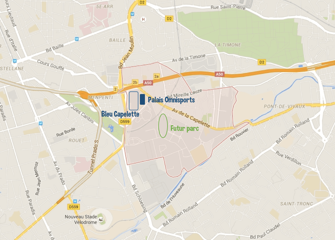 Le quartier de la Capelette © Google Maps