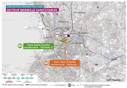 Les tracés proposés au niveau de la gare Saint-Charles.