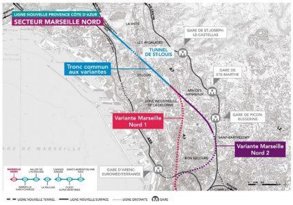 Les variantes de tracé au Nord de Marseille proposées.