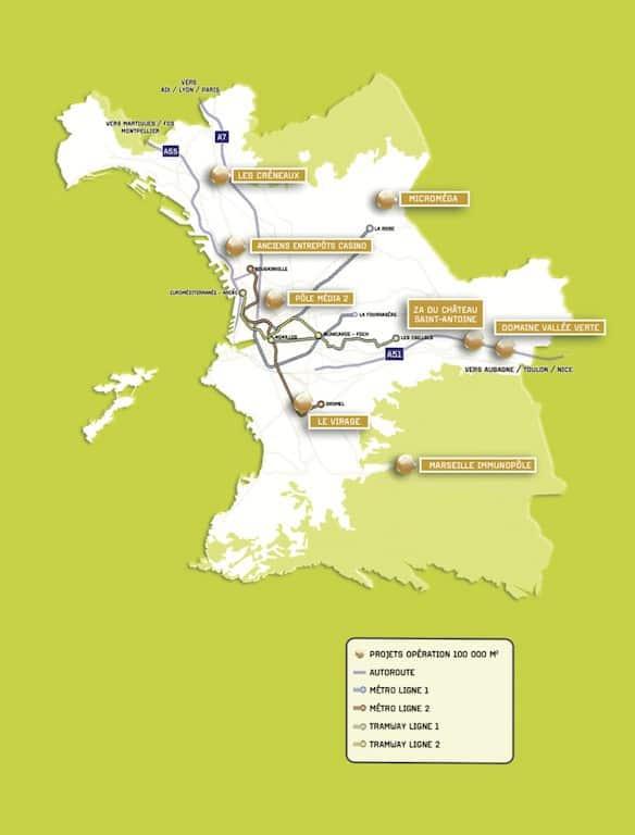 Carte des 8 sites concernés par l'opération
