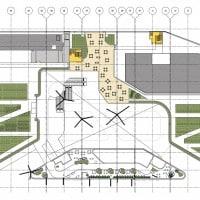Plan de la terrasse avec les cafés © Benoy / Didier Rogeon Architecte