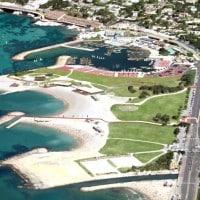 Les installations pour les spectateurs et la marina olympique sur le site du Prado